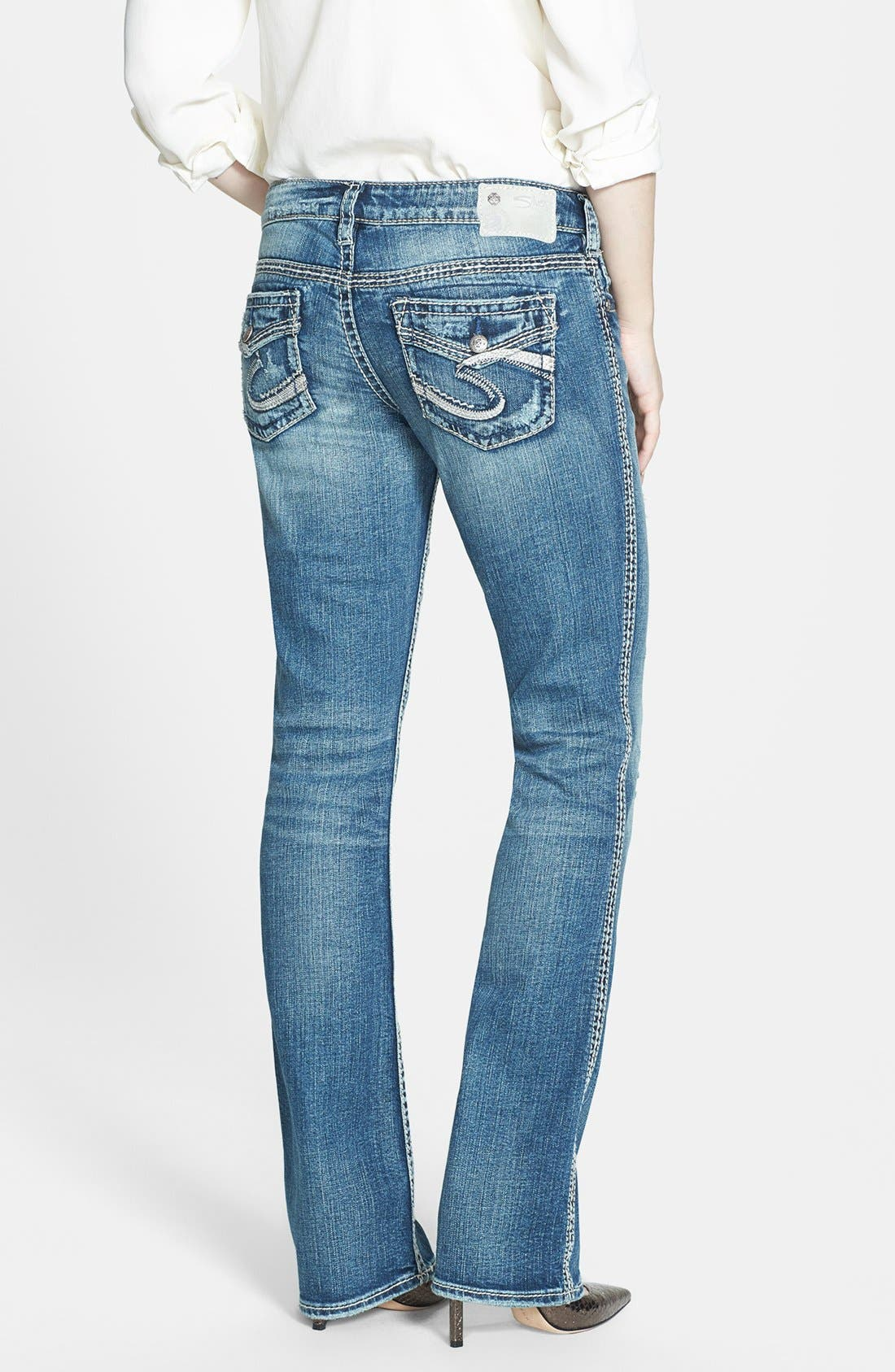 Alternate Image 2  - Silver Jeans Co. 'Aiko' Faux Flap Pocket Distressed Bootcut Jeans (Indigo)