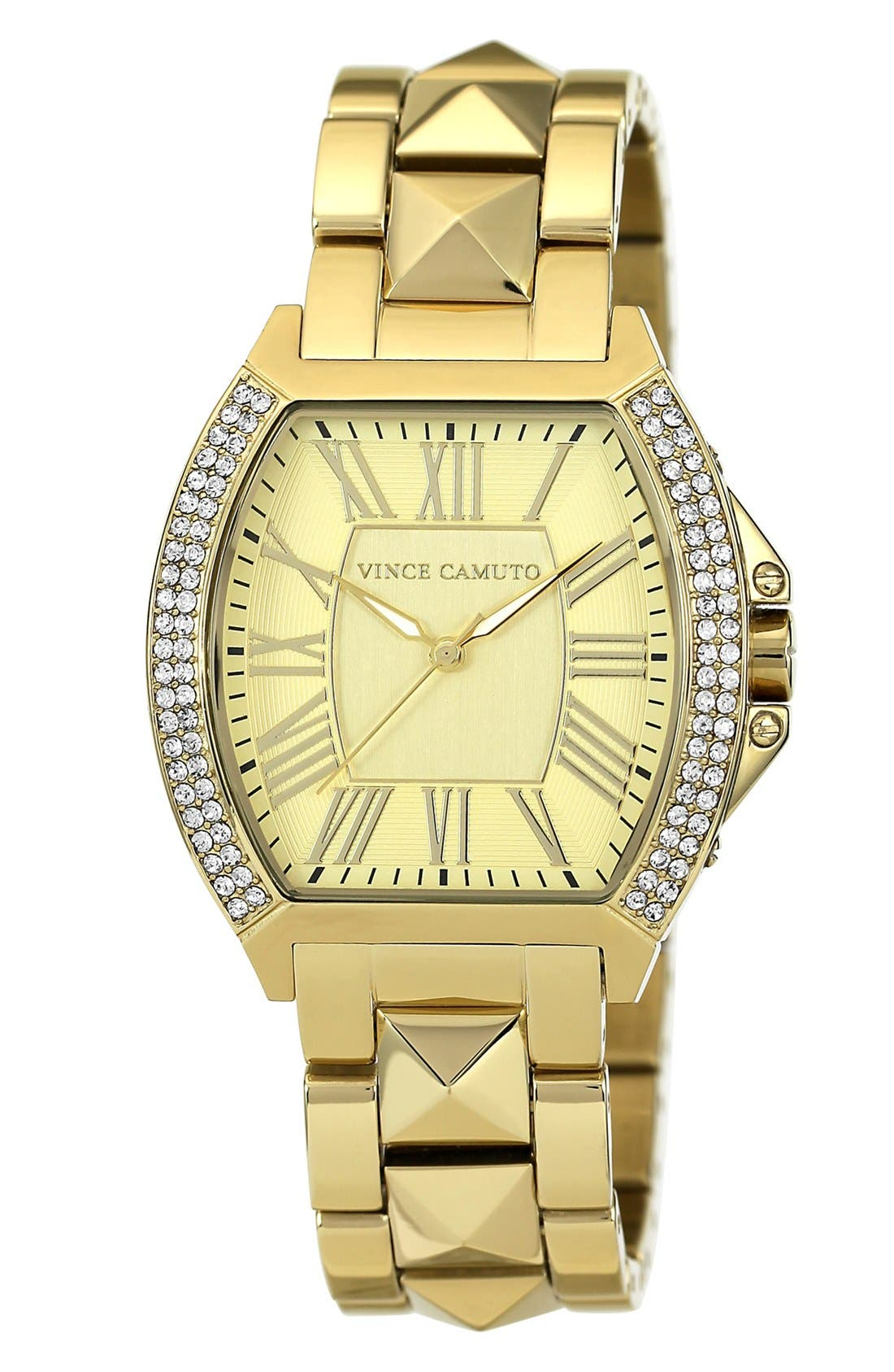 Alternate Image 1 Selected - Vince Camuto Crystal Bezel Tonneau Watch, 35mm x 41mm
