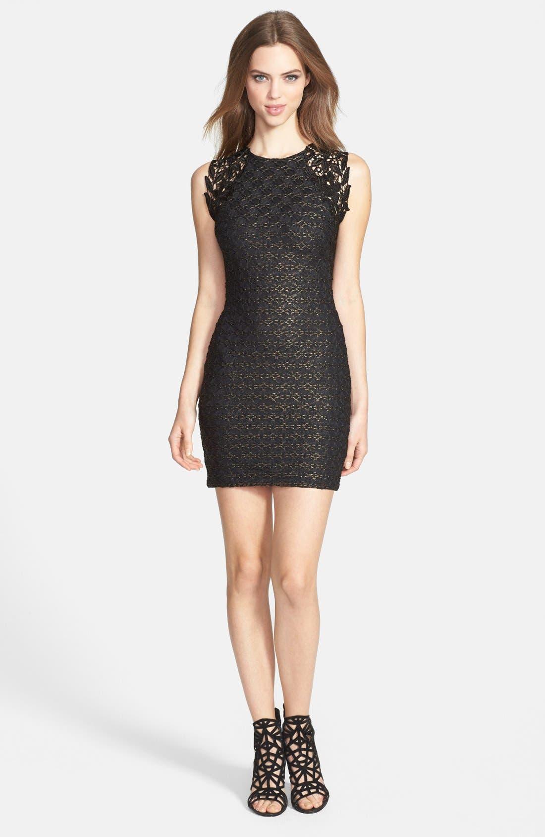 Alternate Image 3  - Dress the Population 'Lauren' Lace Detail Foiled Body-Con Dress