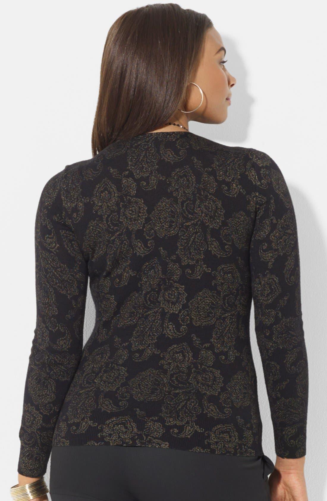 Alternate Image 2  - Lauren Ralph Lauren Print Wool Sweater (Plus Size)