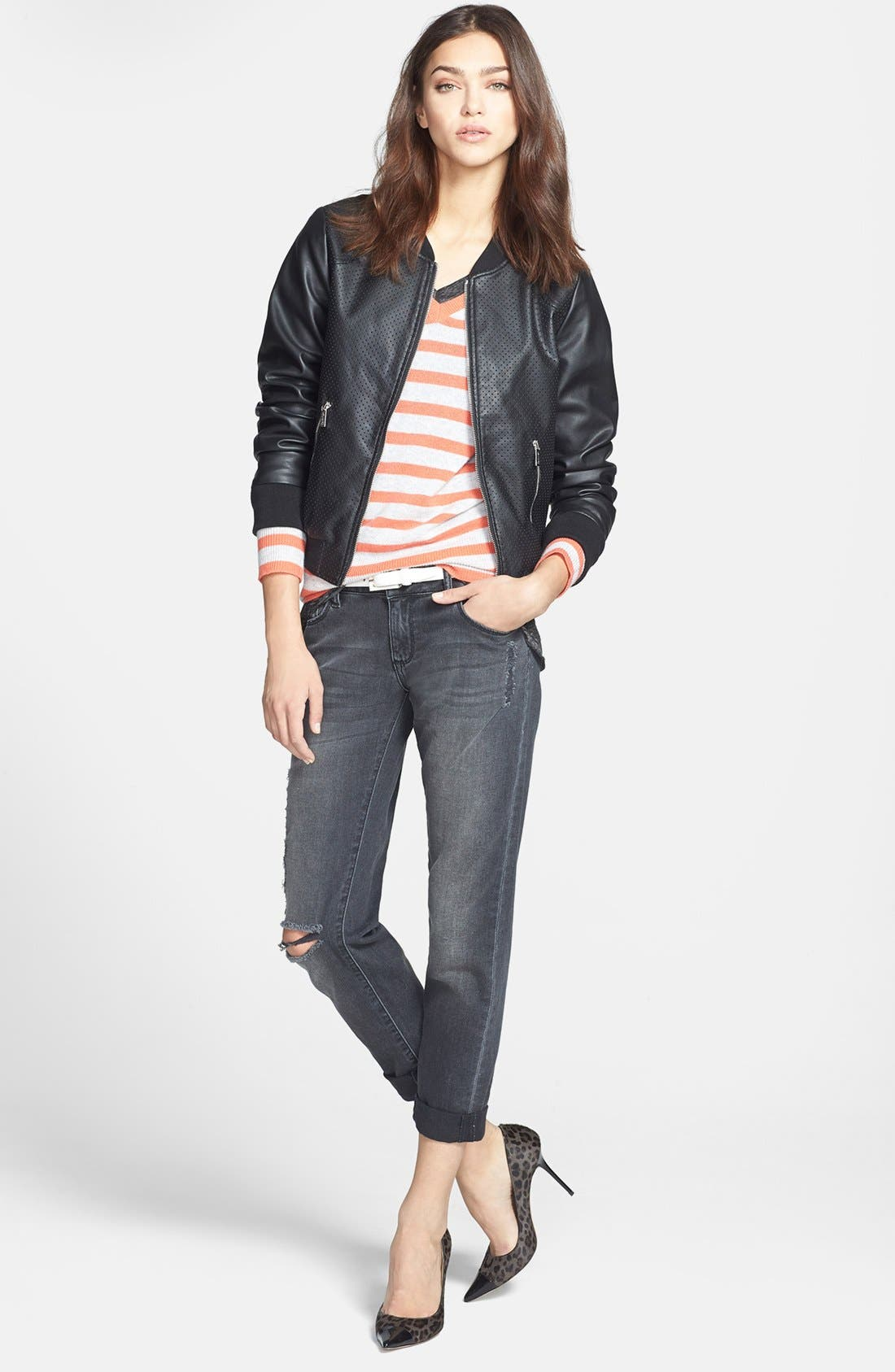 Alternate Image 4  - Calvin Klein Perforated Faux Leather Bomber Jacket