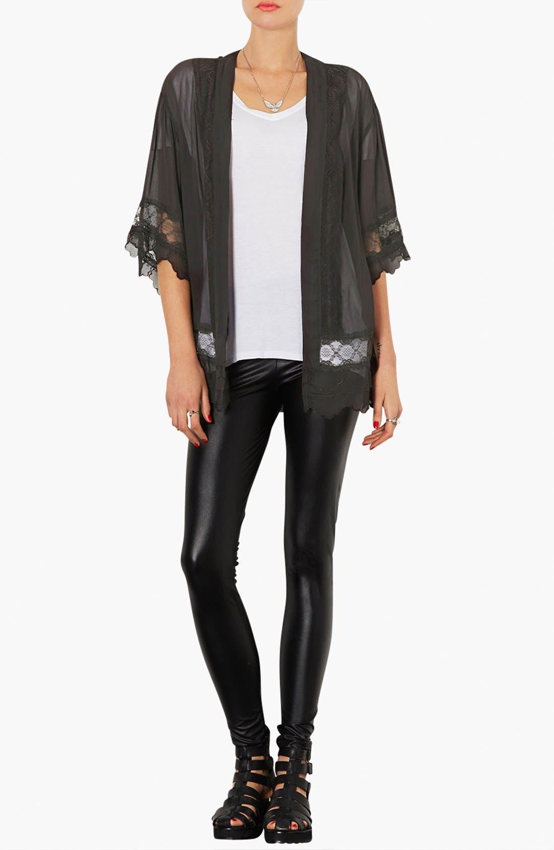 Alternate Image 3  - Topshop Lace Inset Kimono Jacket