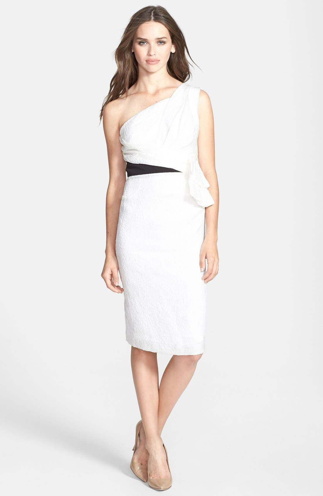 Main Image - Vera Wang One-Shoulder Ruffled Jacquard Sheath Dress