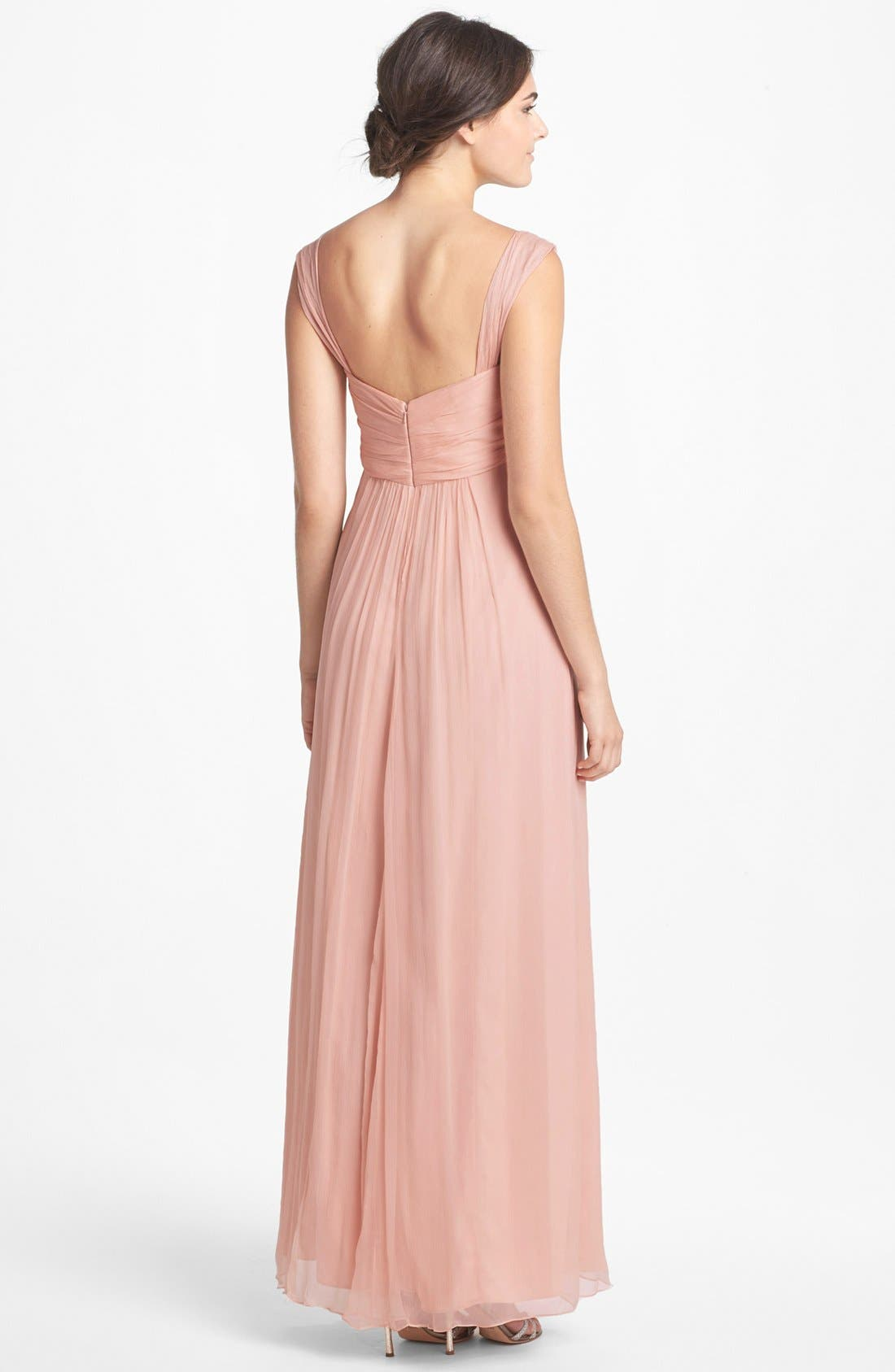 Alternate Image 2  - Amsale Cap Sleeve Chiffon Gown