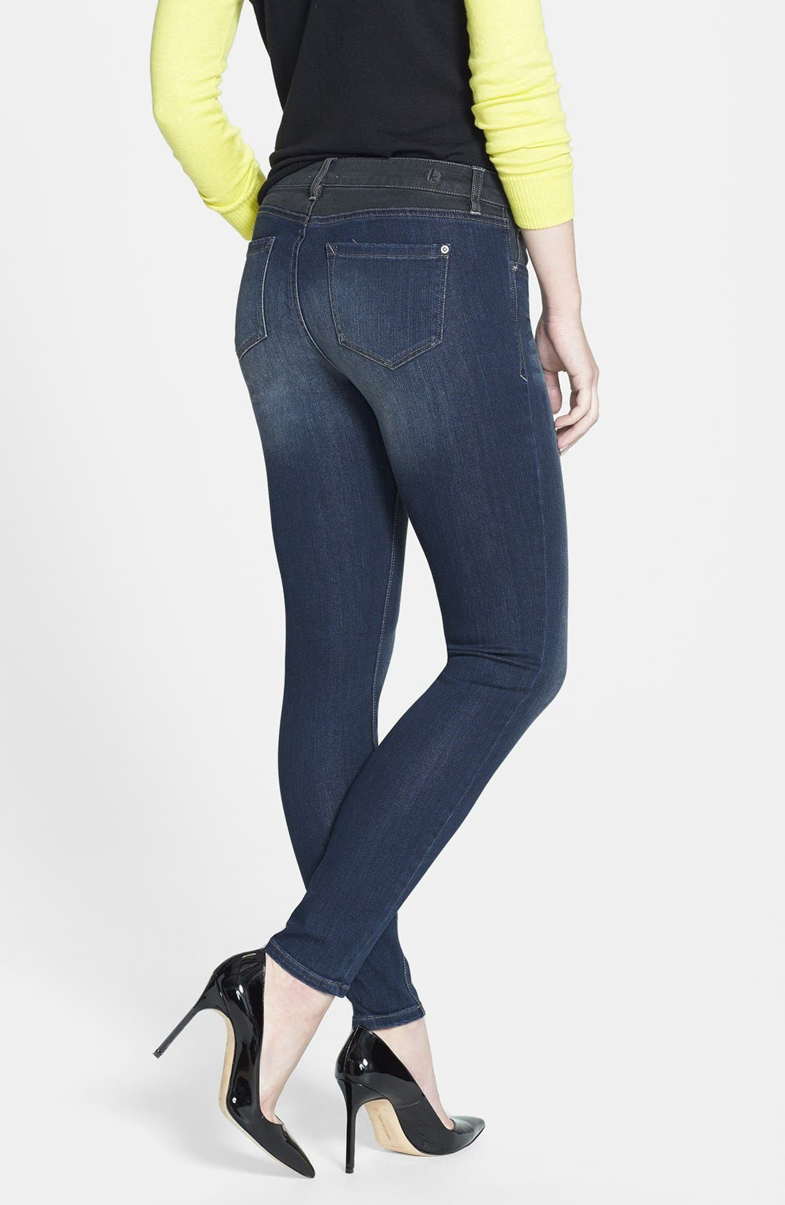Alternate Image 2  - kensie 'Ankle Biter' Colorblock Skinny Jeans (Electric Youth)