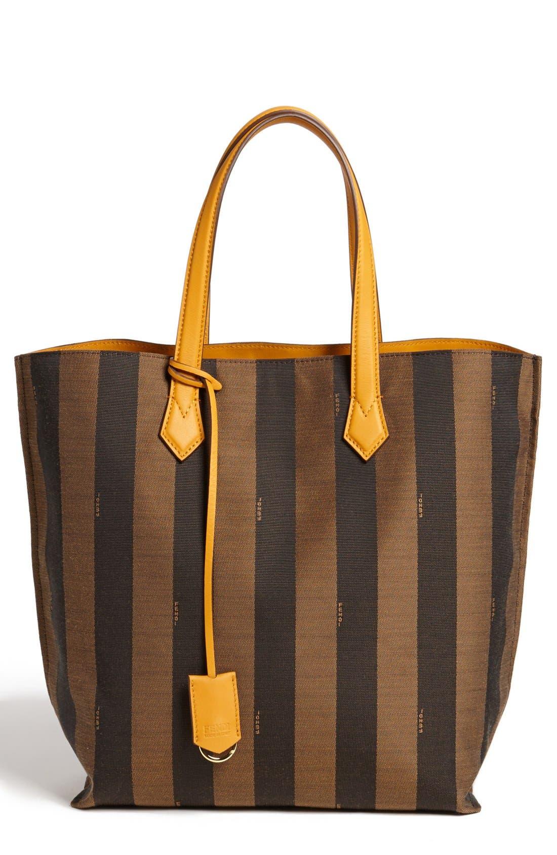 Main Image - Fendi 'All In - Pequin' Logo Jacquard Shopper Tote
