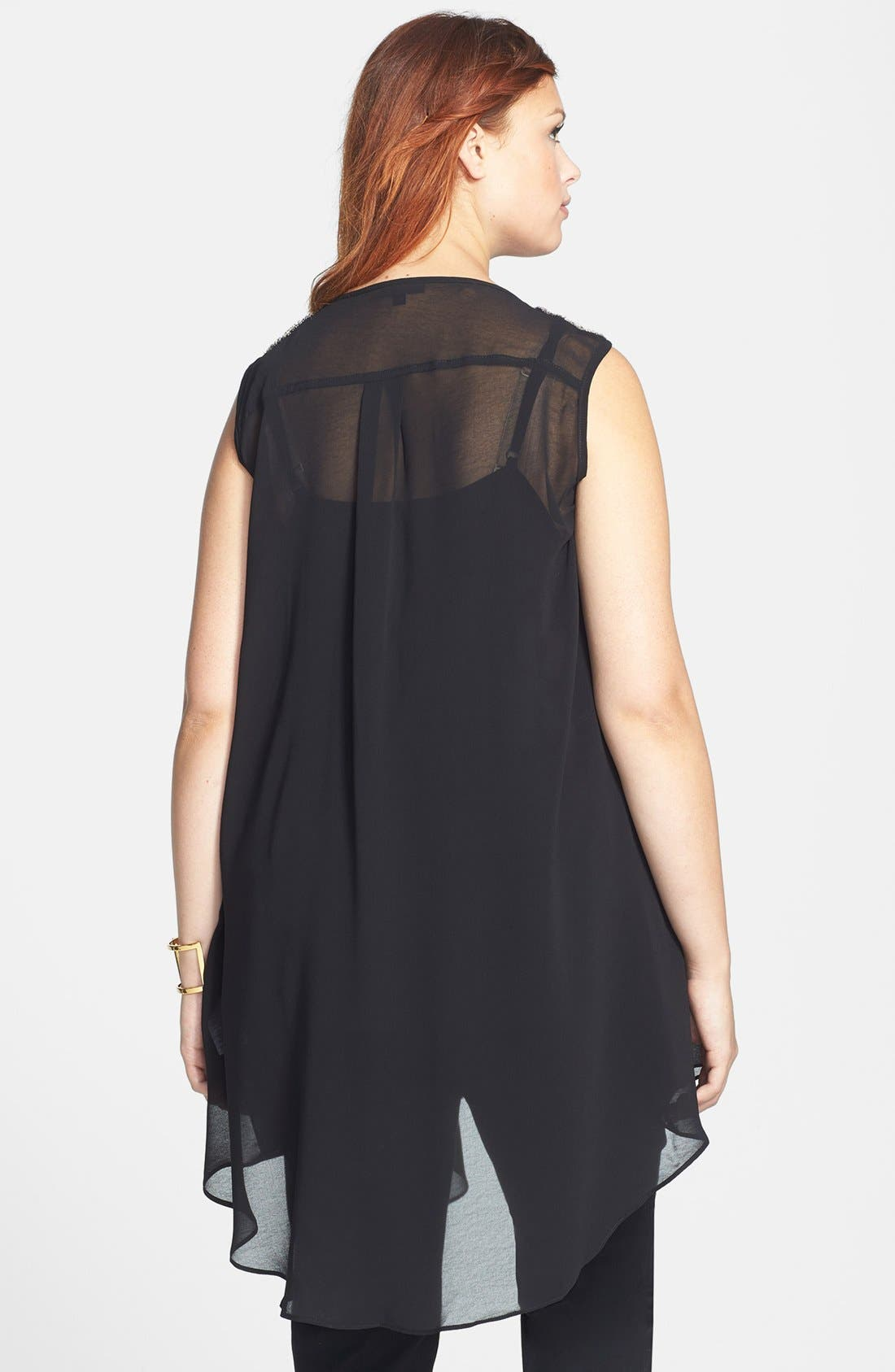 Alternate Image 2  - City Chic Beaded Shoulder Layered Chiffon Tank (Plus Size)