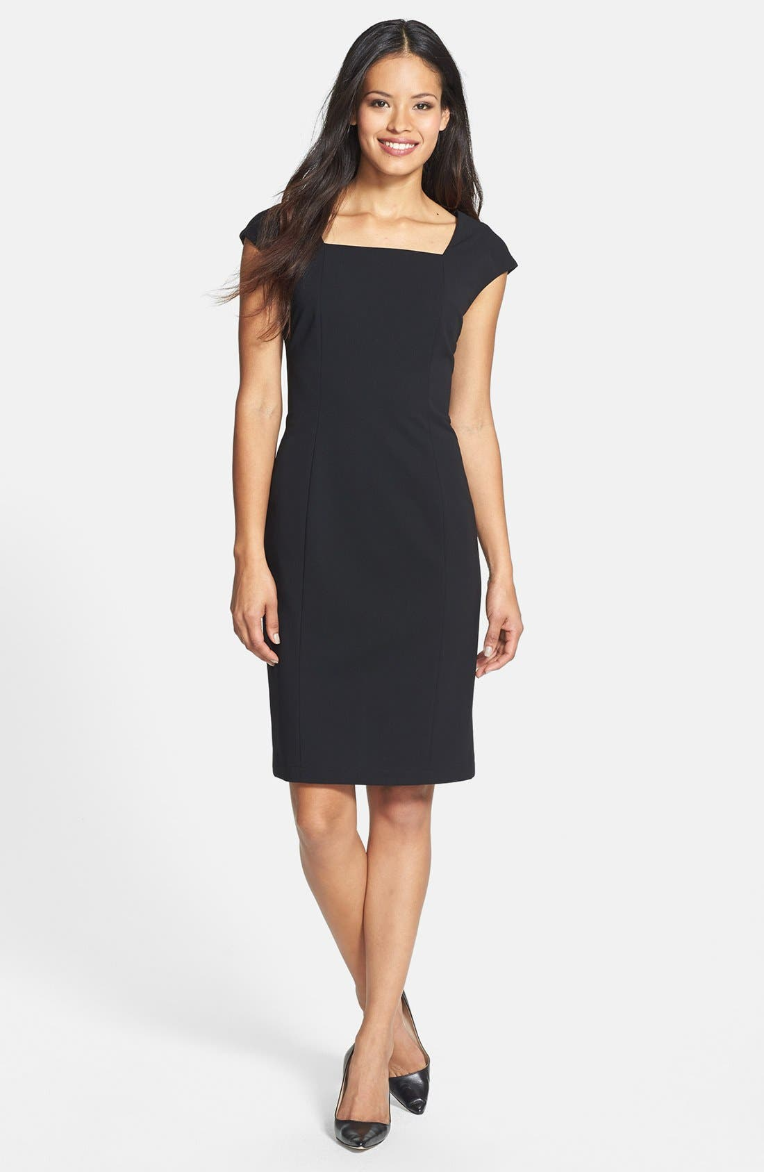 Alternate Image 1 Selected - Lafayette 148 New York Square Neck Knit Sheath Dress