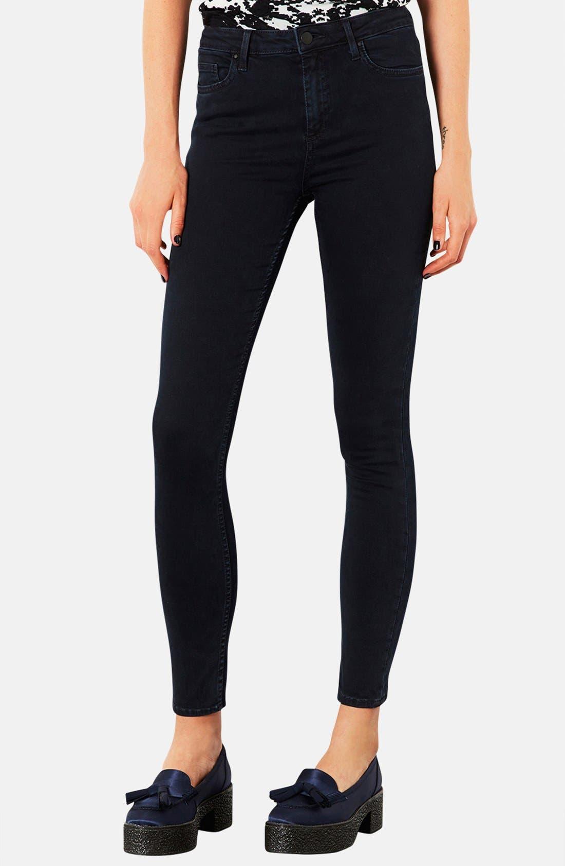 Main Image - Topshop Moto 'Jamie' High Rise Crop Skinny Jeans (Navy Blue)