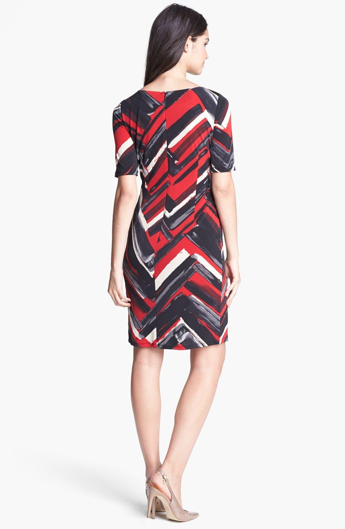 Alternate Image 2  - Ellen Tracy Print Side Tie Jersey Dress (Petite)
