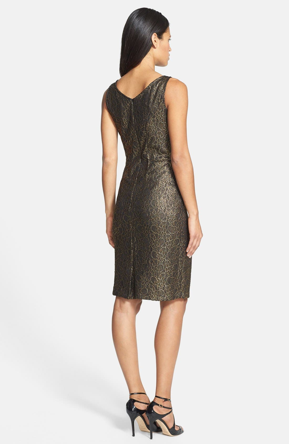 Alternate Image 2  - Donna Ricco Metallic Lace Sheath Dress