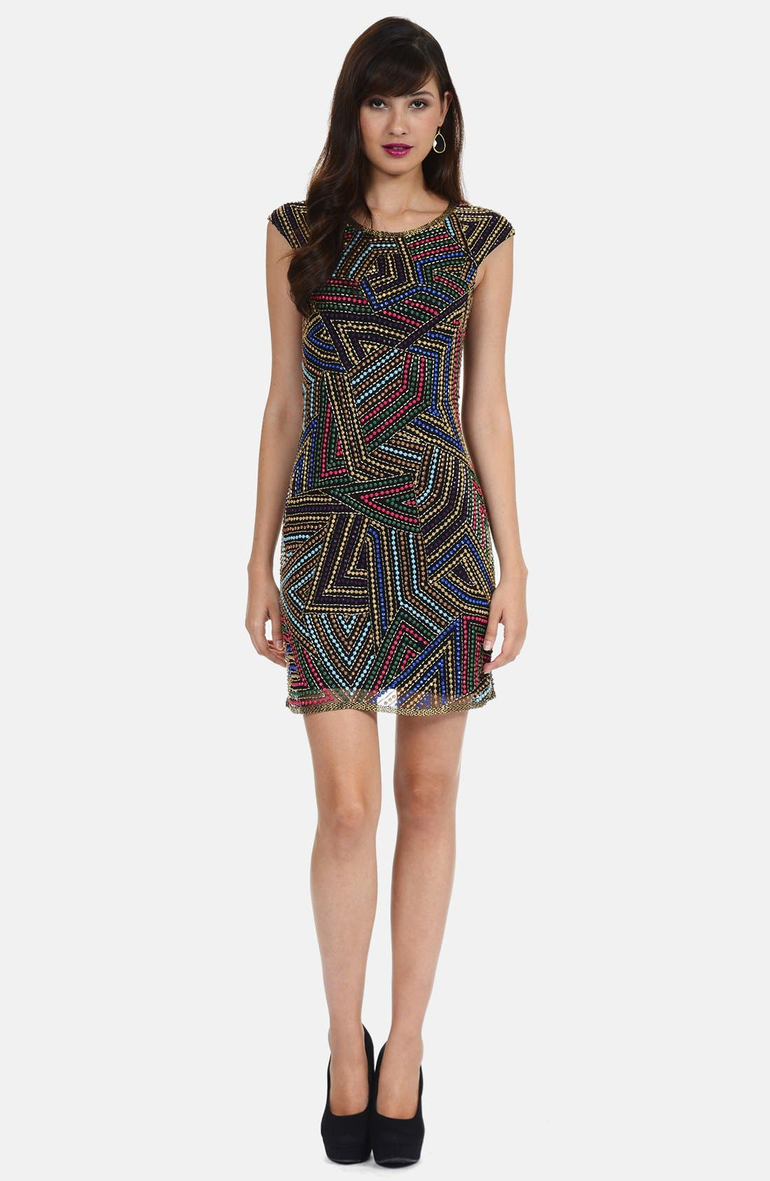 Alternate Image 1 Selected - Phoebe by Kay Unger Embellished Shift Dress