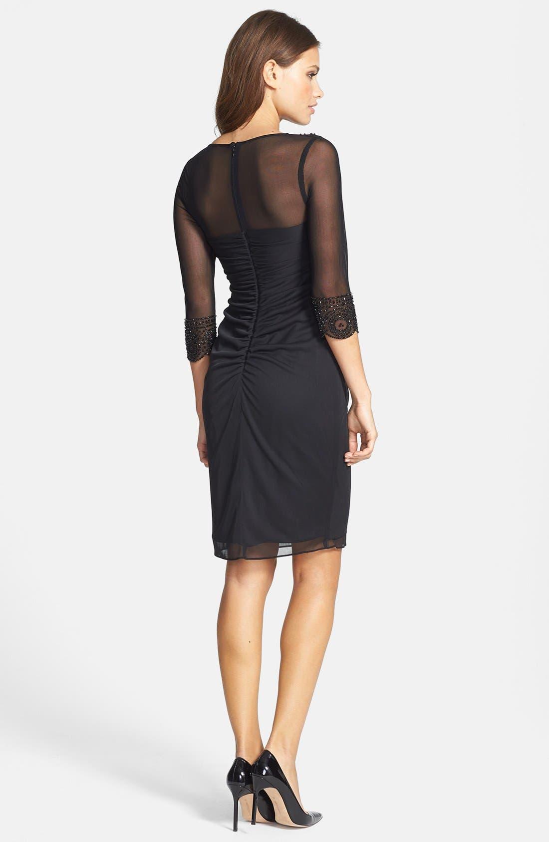 Alternate Image 2  - Xscape Embellished Side Pleat Mesh Dress