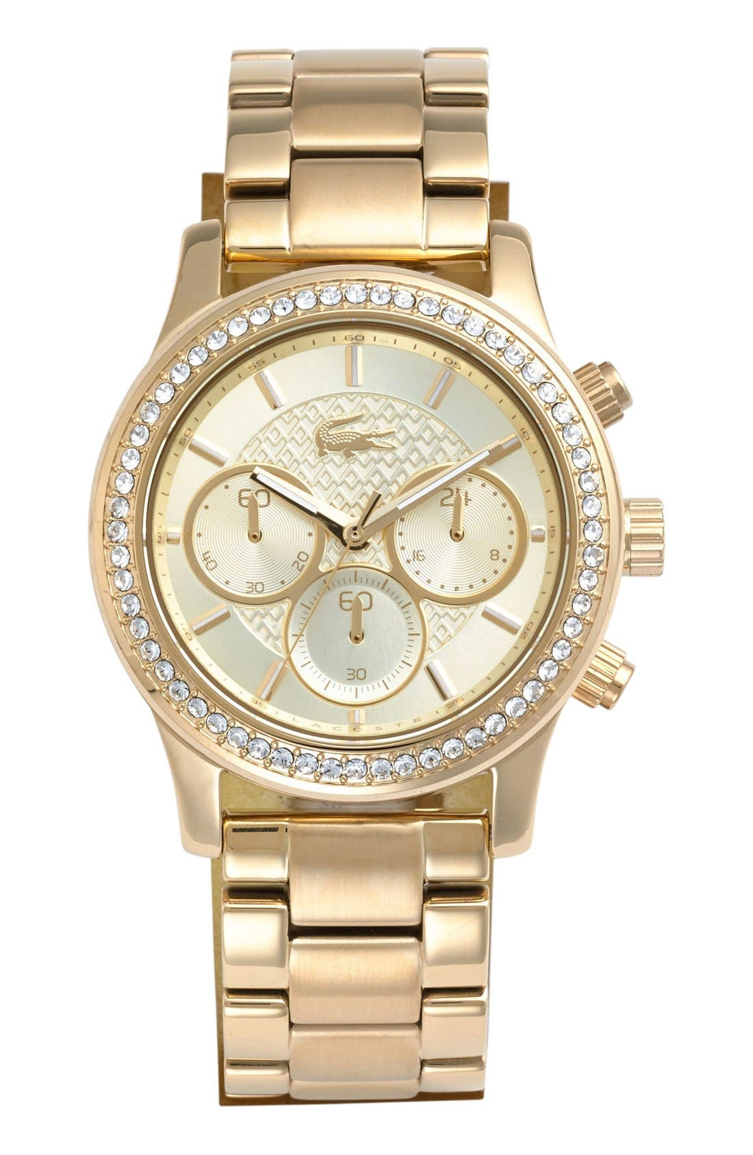 Main Image - Lacoste Crystal Bezel Guilloche Dial Bracelet Watch, 40mm