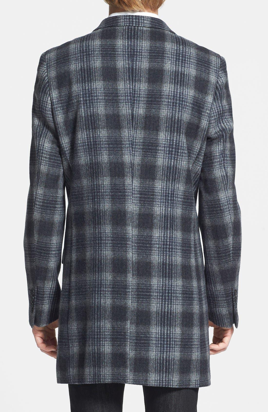 Alternate Image 2  - Topman Plaid Wool Blend Coat
