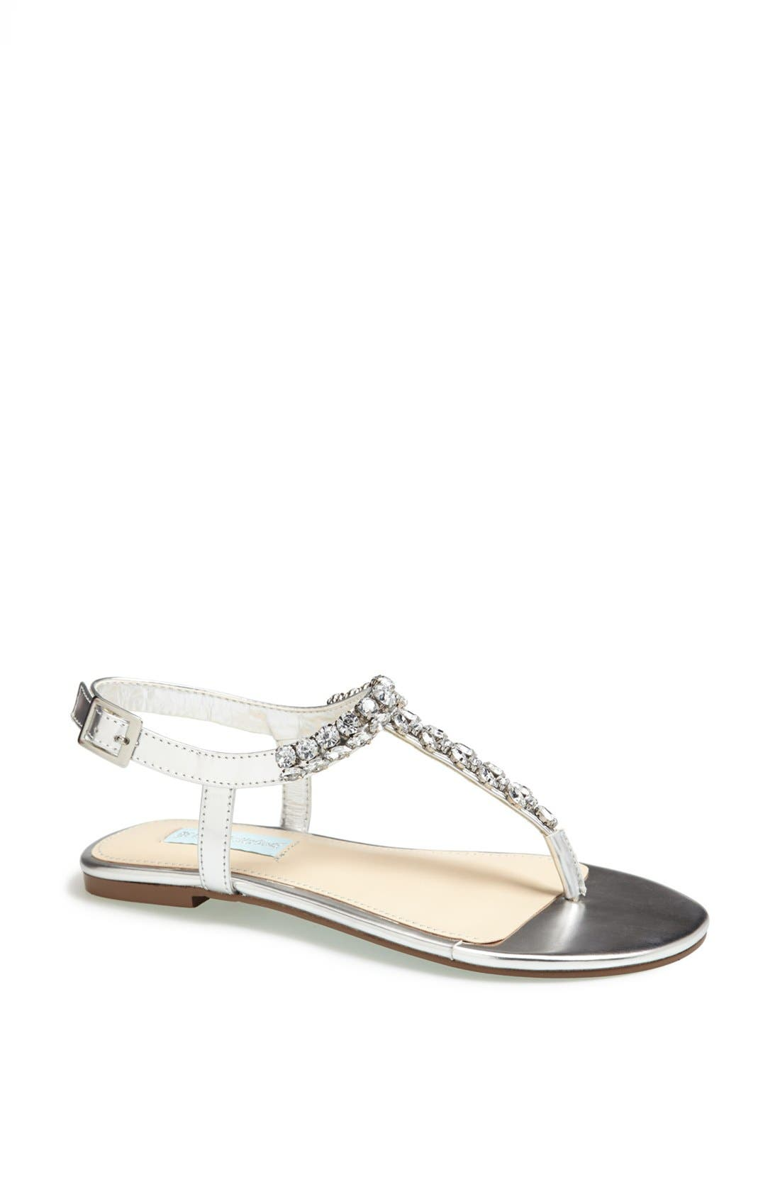 Alternate Image 1 Selected - Blue by Betsey Johnson 'Spark' Crystal Embellished Thong Sandal