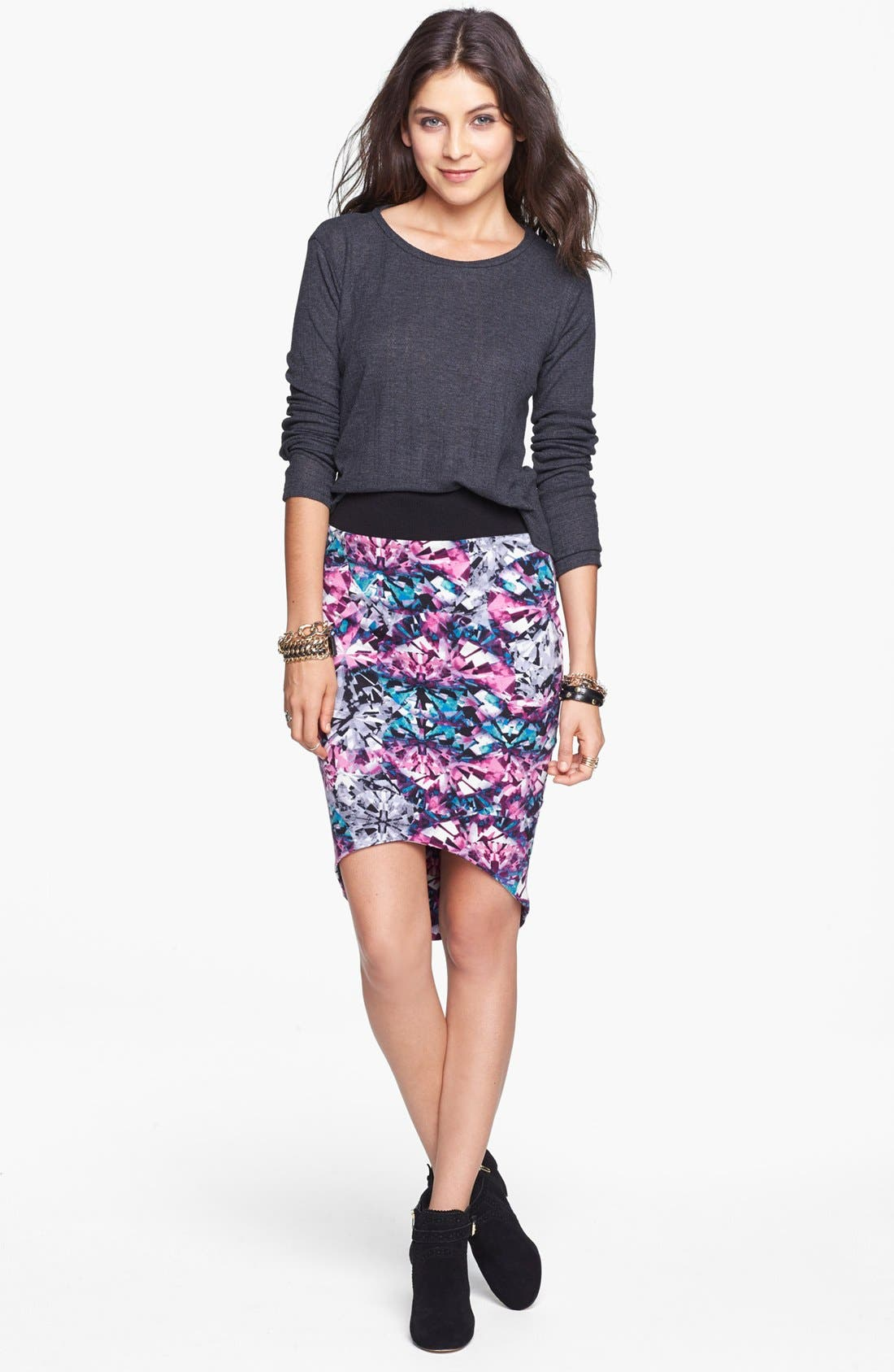 Main Image - Lily White Print High/Low Skirt (Juniors)