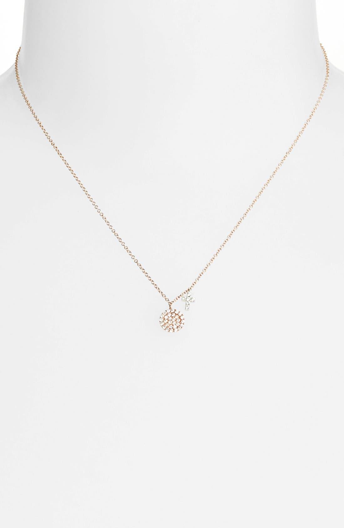 Alternate Image 2  - MeiraT 'Dazzling' Diamond Disc Pendant Necklace