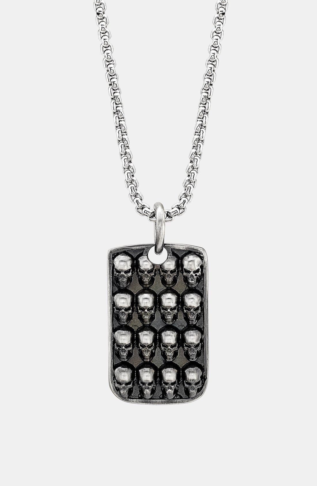 Main Image - Room 101 Skull Dog Tag Necklace