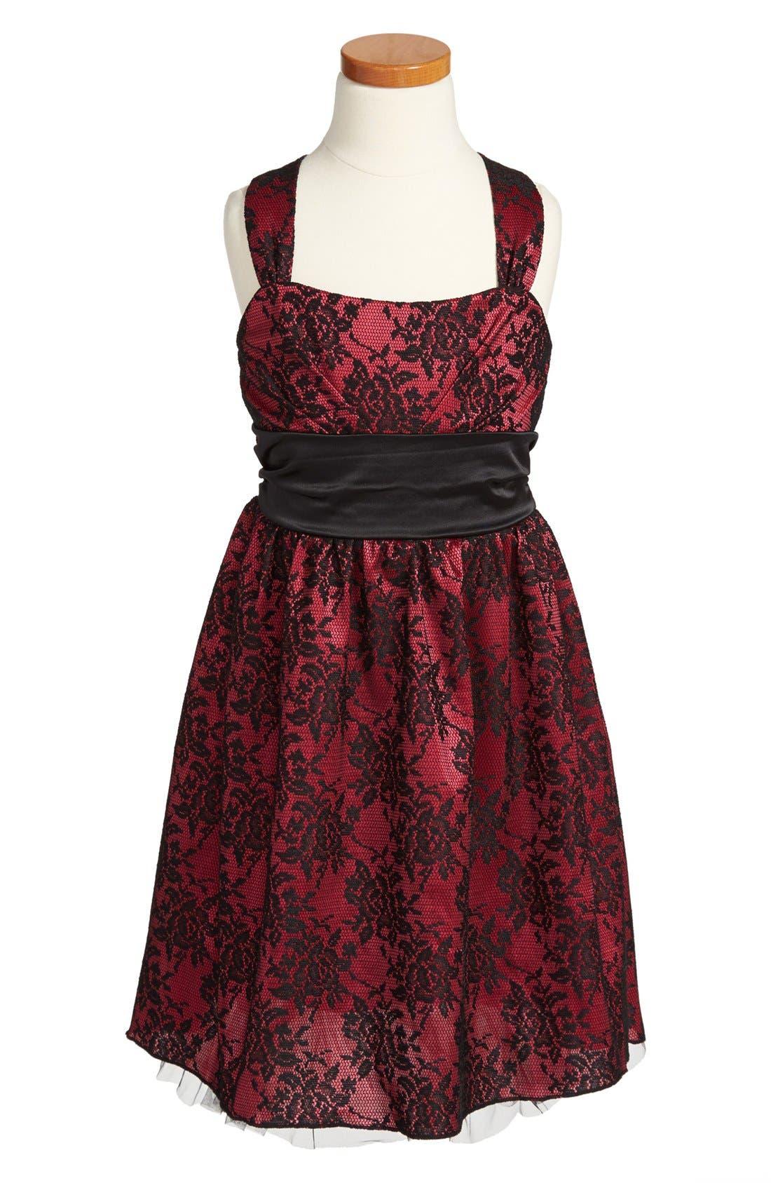 Main Image - Roxette Satin & Lace Dress (Big Girls)