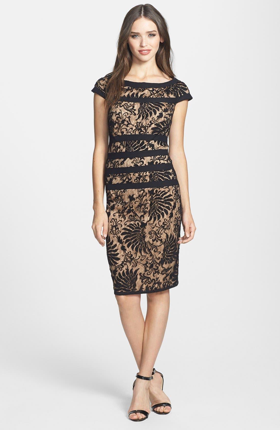 Main Image - Tadashi Shoji Embroidered Lace Sheath Dress