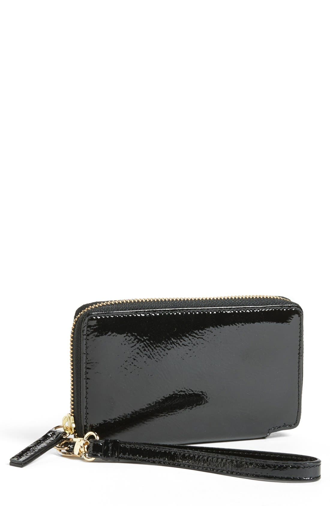Main Image - Halogen® 'Cassie' Crinkle Patent Leather Phone Wallet