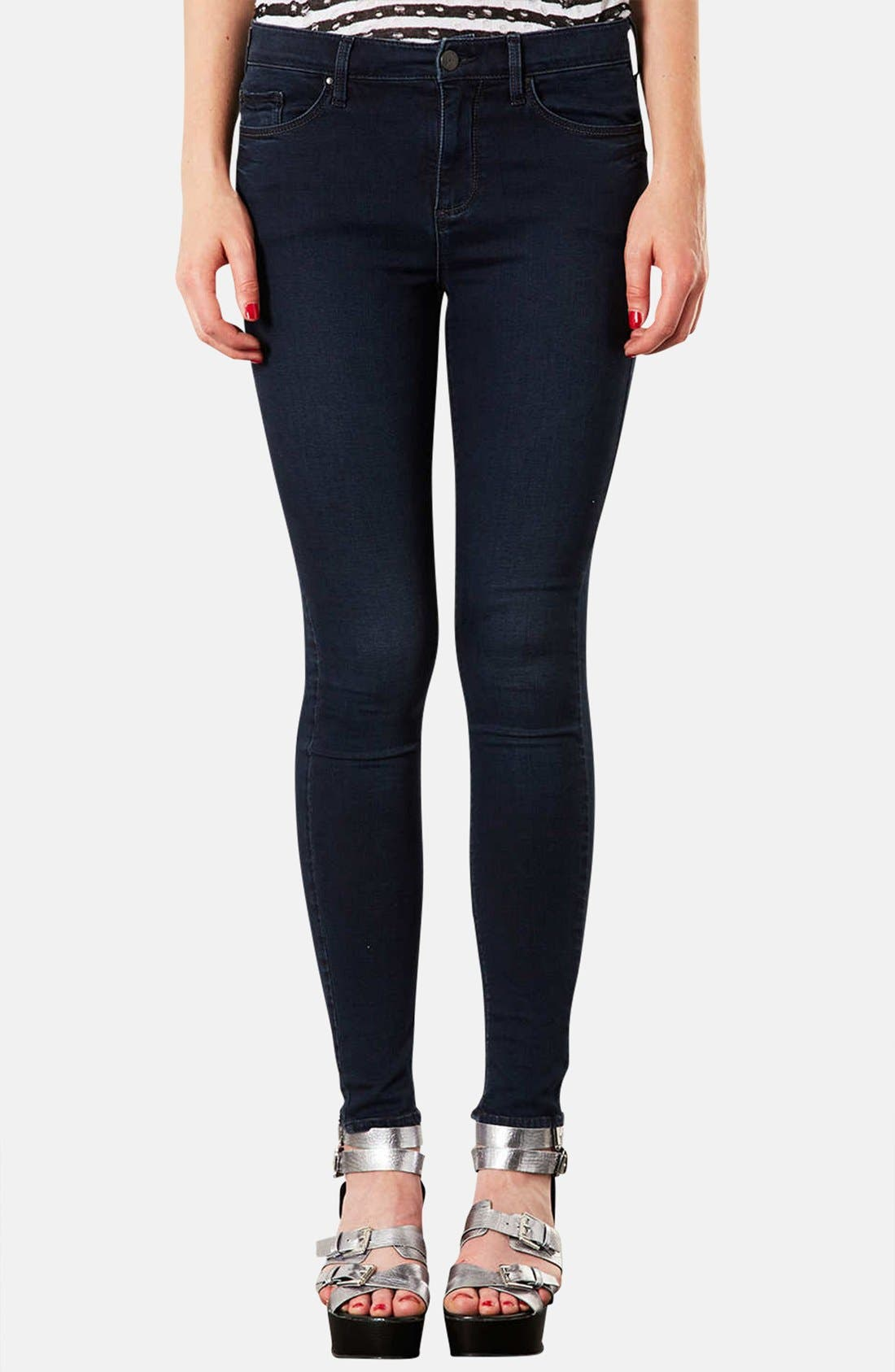 Main Image - Topshop Moto 'Leigh' Skinny Jeans (Indigo) (Regular & Short)