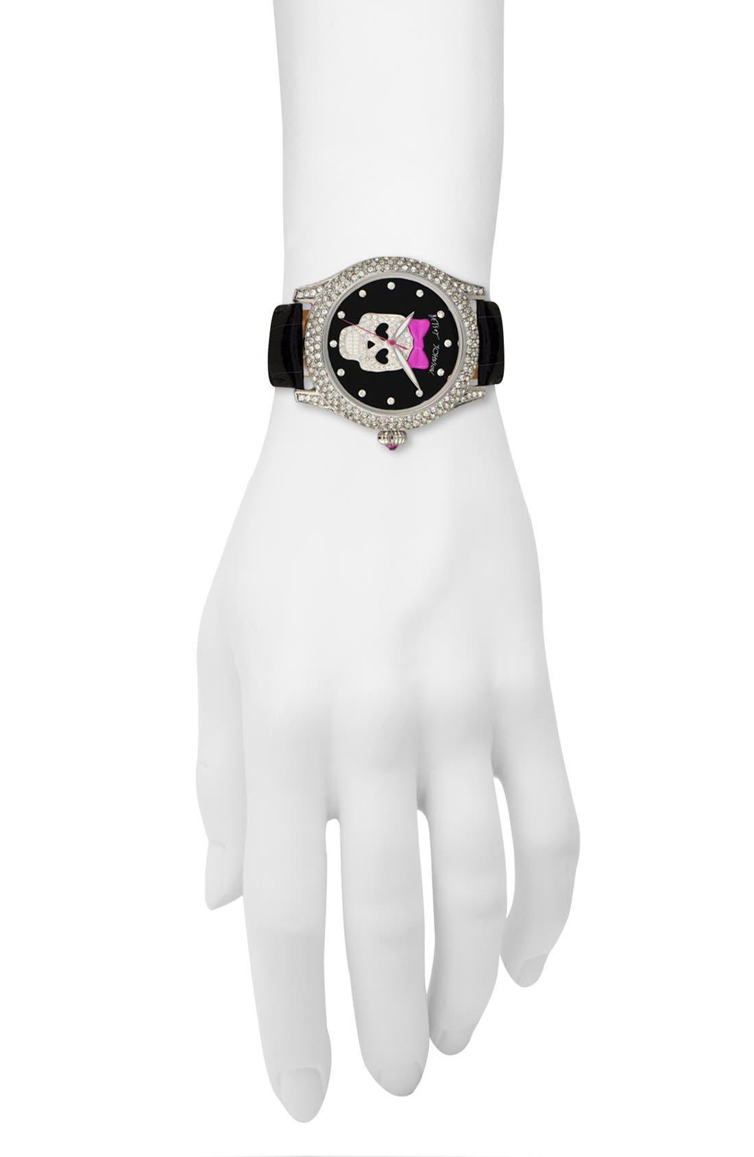 Alternate Image 4  - Betsey Johnson 'Bling Bling Time' Skull Dial Leather Strap Watch