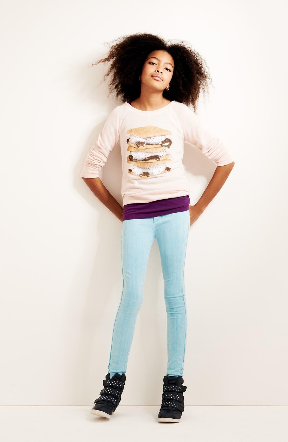 Main Image - Ten Sixty Sherman Graphic Sweatshirt, Tucker + Tate Tank Top & Joe's Jeggings (Big Girls)