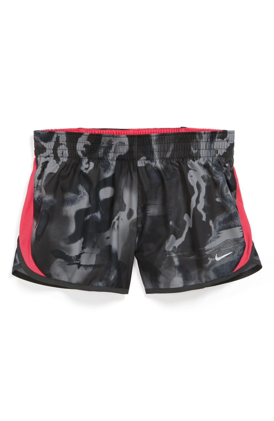 Alternate Image 1 Selected - Nike 'Dash' Dri-FIT Print Shorts (Big Girls)
