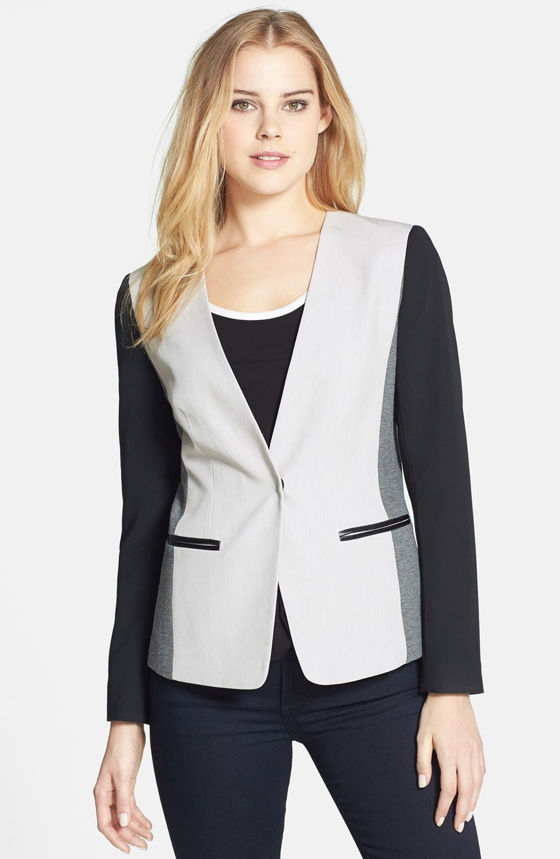 Alternate Image 1 Selected - DKNYC Colorblock One-Button Blazer