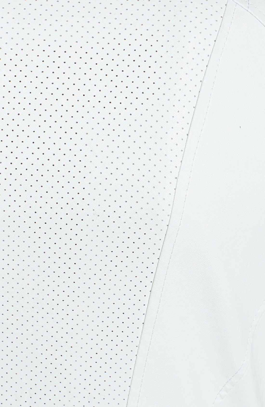 Alternate Image 3  - Bernardo Asymmetrical Perforated Faux Leather Jacket (Online Only) (Regular & Petite)
