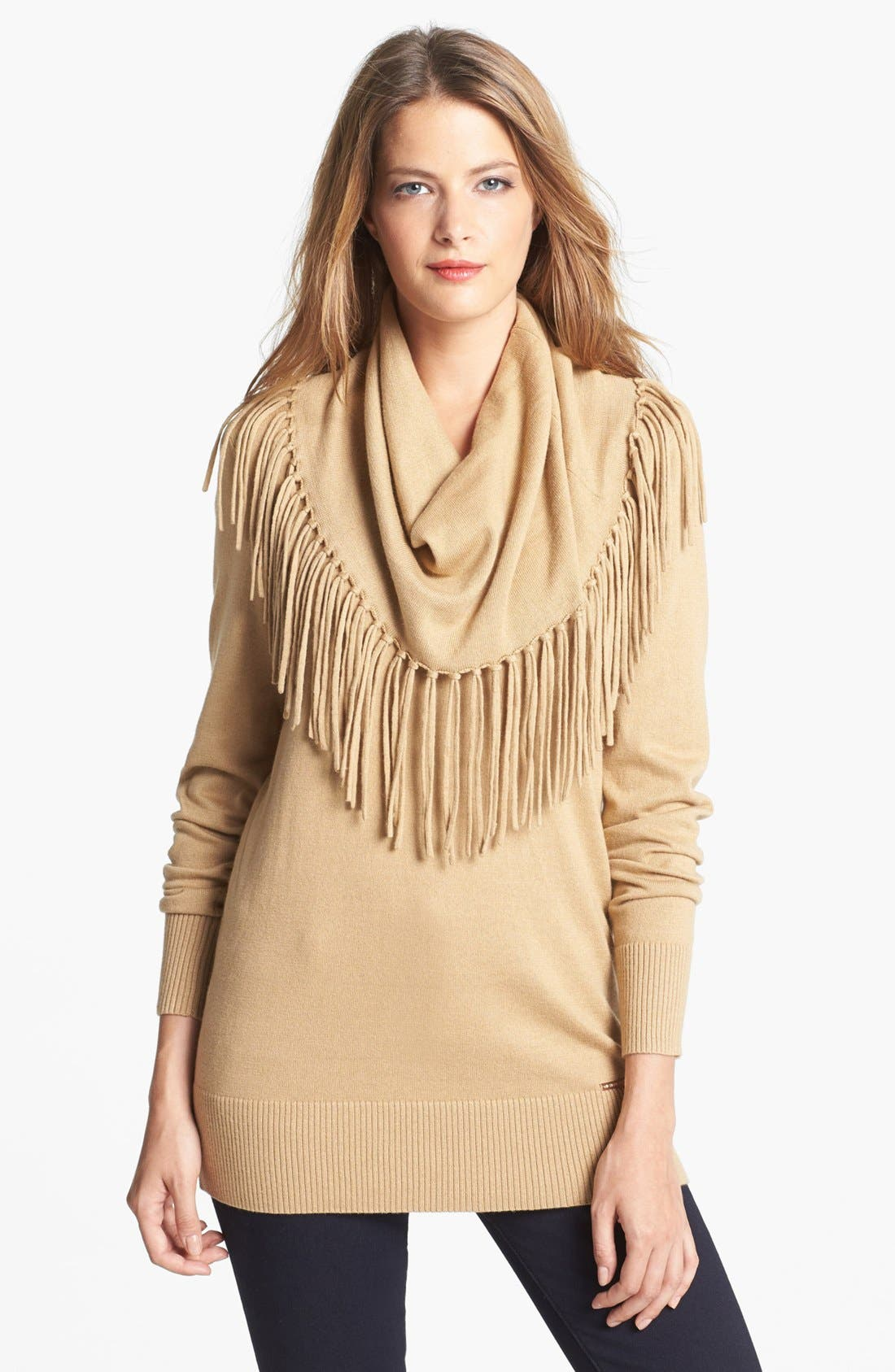 Main Image - MICHAEL Michael Kors Fringed Cowl Neck Sweater (Petite)