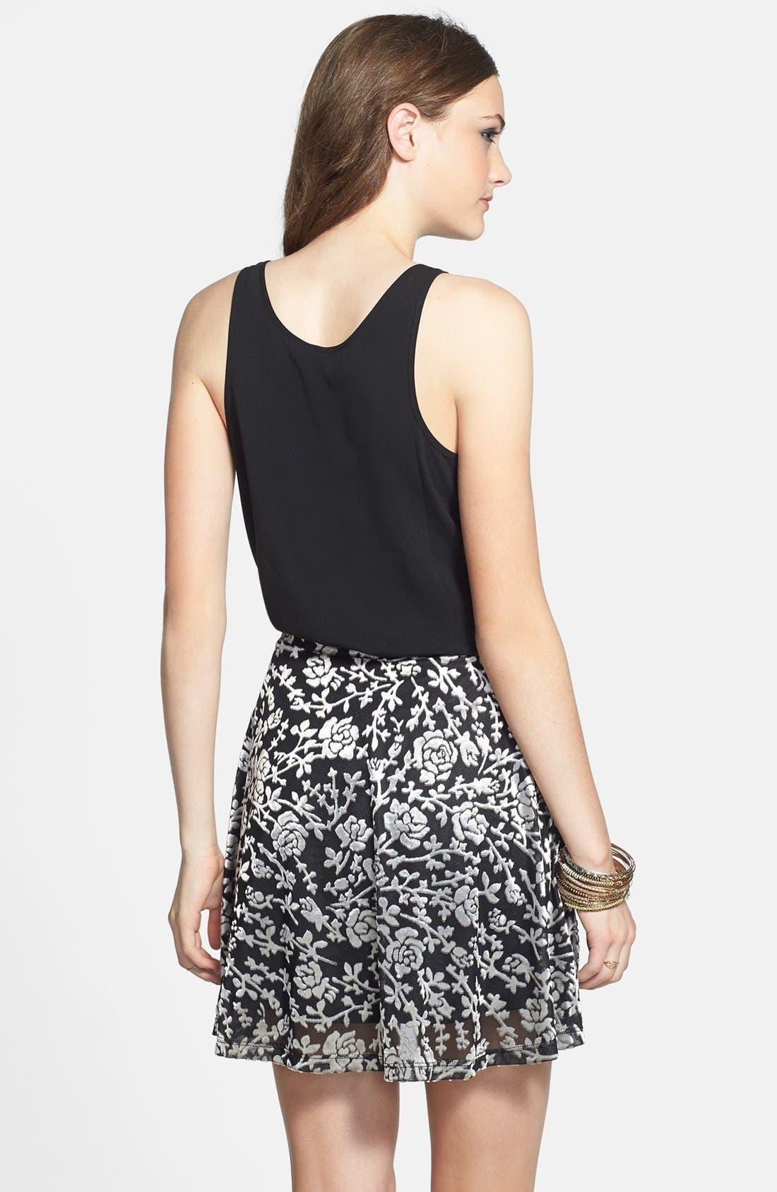 Alternate Image 2  - Lily White Floral Velvet Skater Skirt (Juniors)