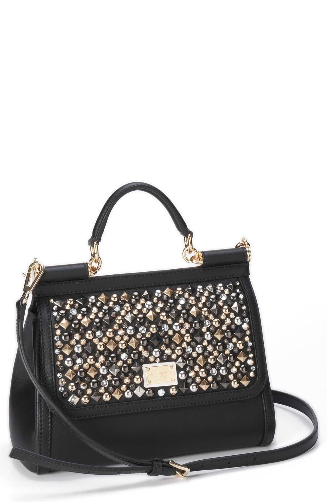 Alternate Image 1 Selected - Dolce&Gabbana 'Miss Sicily - Mini' Studded Top Handle Leather Satchel