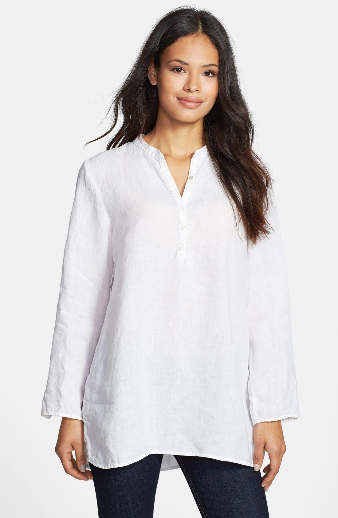 Main Image - Eileen Fisher Mandarin Collar Organic Linen Tunic (Regular & Petite)