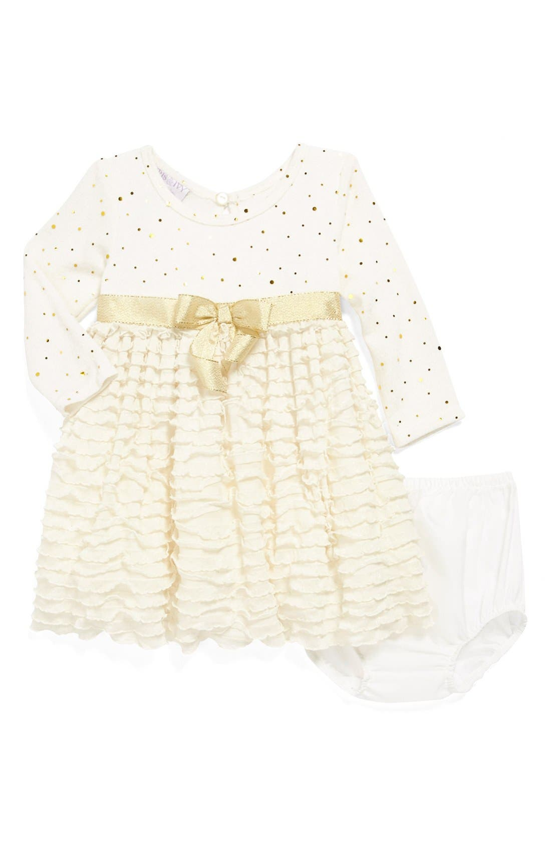 Main Image - Iris & Ivy Glitter Knit Ruffle Skirt Dress (Baby Girls)