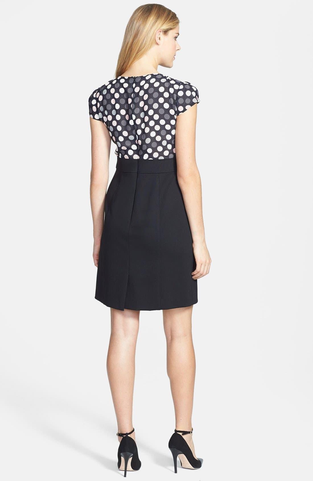 Alternate Image 2  - Tahari Polka Dot Chiffon & Crepe Sheath Dress