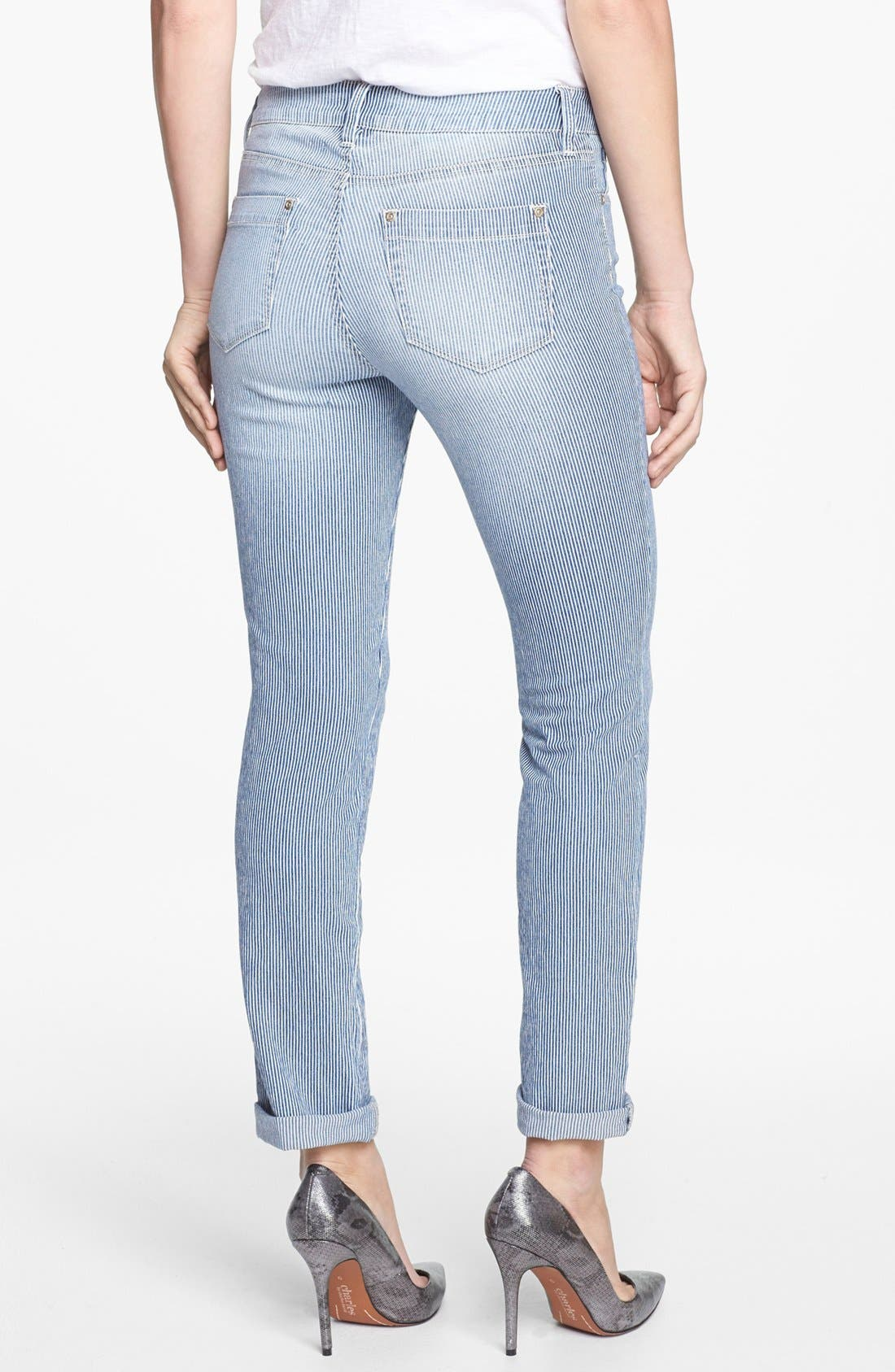 Alternate Image 2  - NYDJ 'Leann' Stretch Skinny Boyfriend Jeans (Old West Stripe) (Petite)