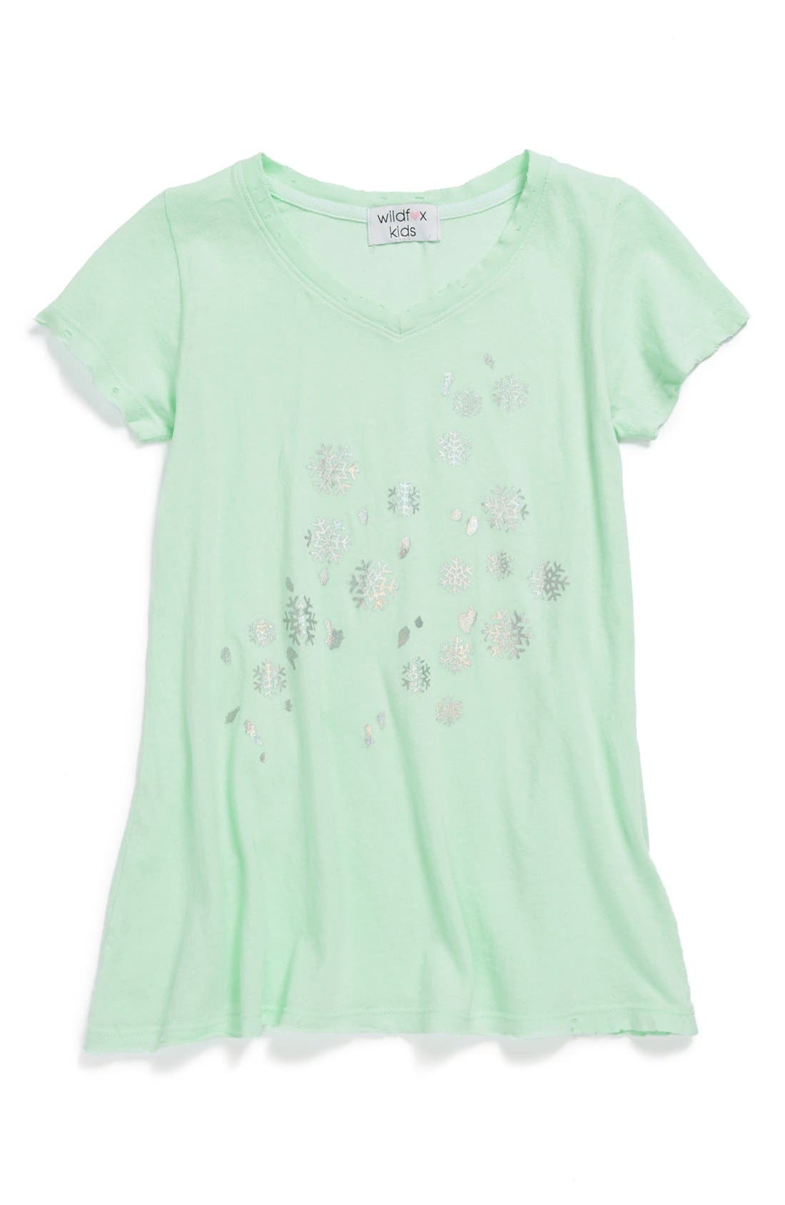 Alternate Image 1 Selected - Wildfox 'Shiny Snowflakes' Tee (Big Girls)