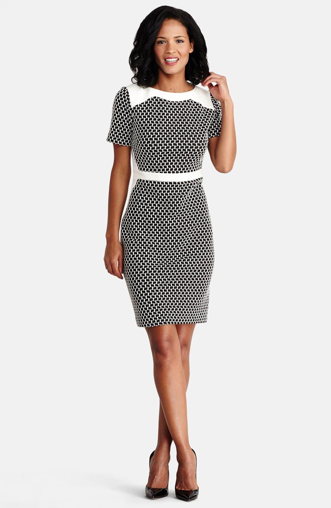 Alternate Image 2  - Donna Morgan Novelty Knit Sheath Dress (Regular & Petite)