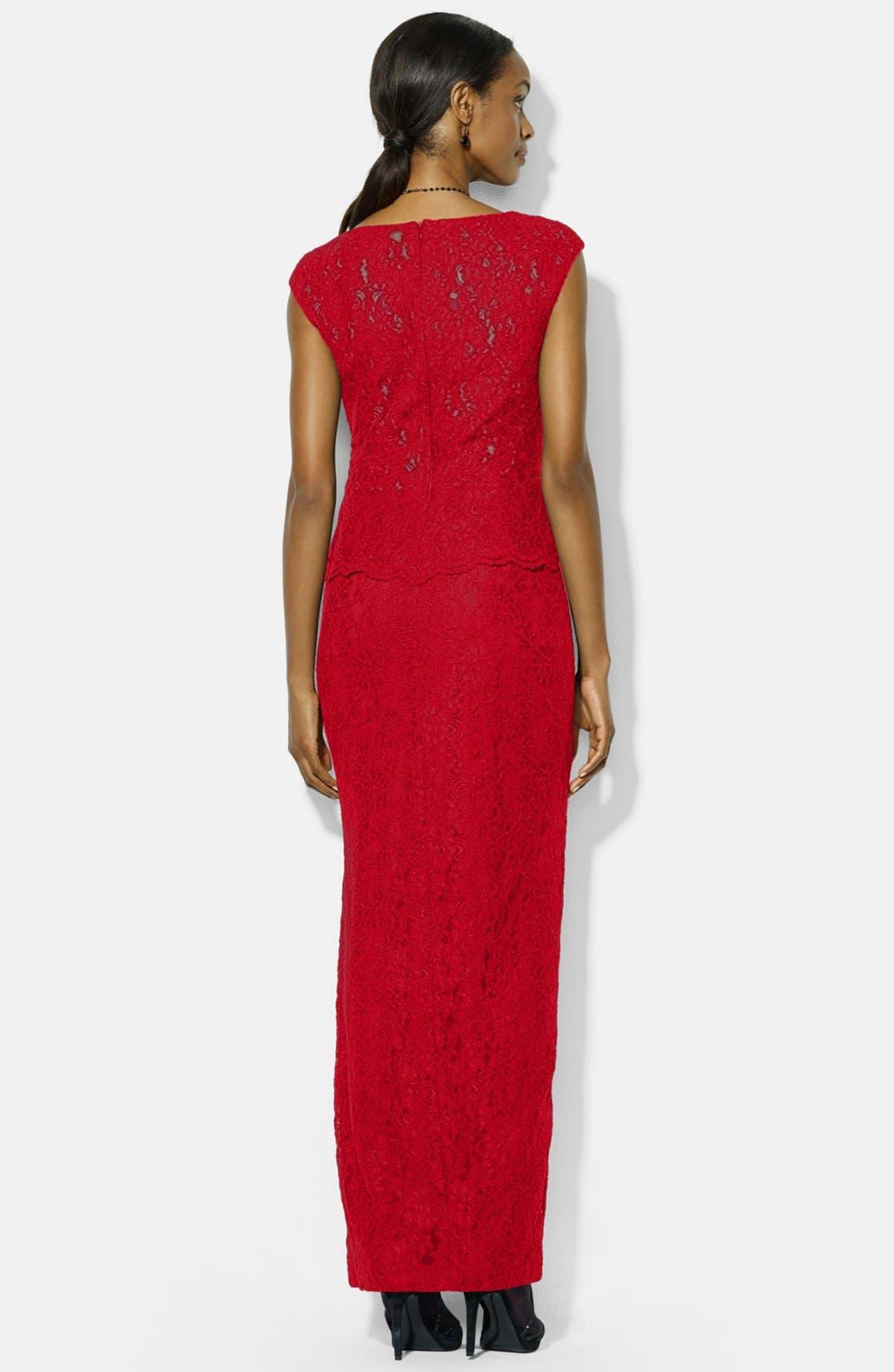 Alternate Image 2  - Lauren Ralph Lauren Lace Gown (Regular & Petite)