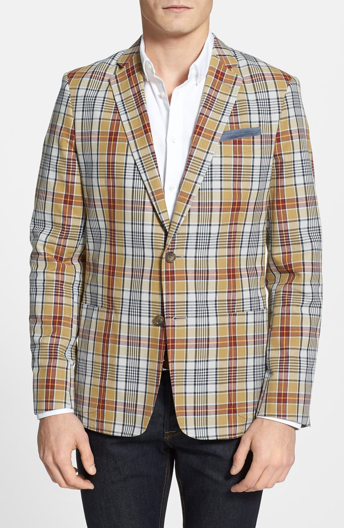Alternate Image 1 Selected - Wallin & Bros. Trim Fit Madras Plaid Sportcoat