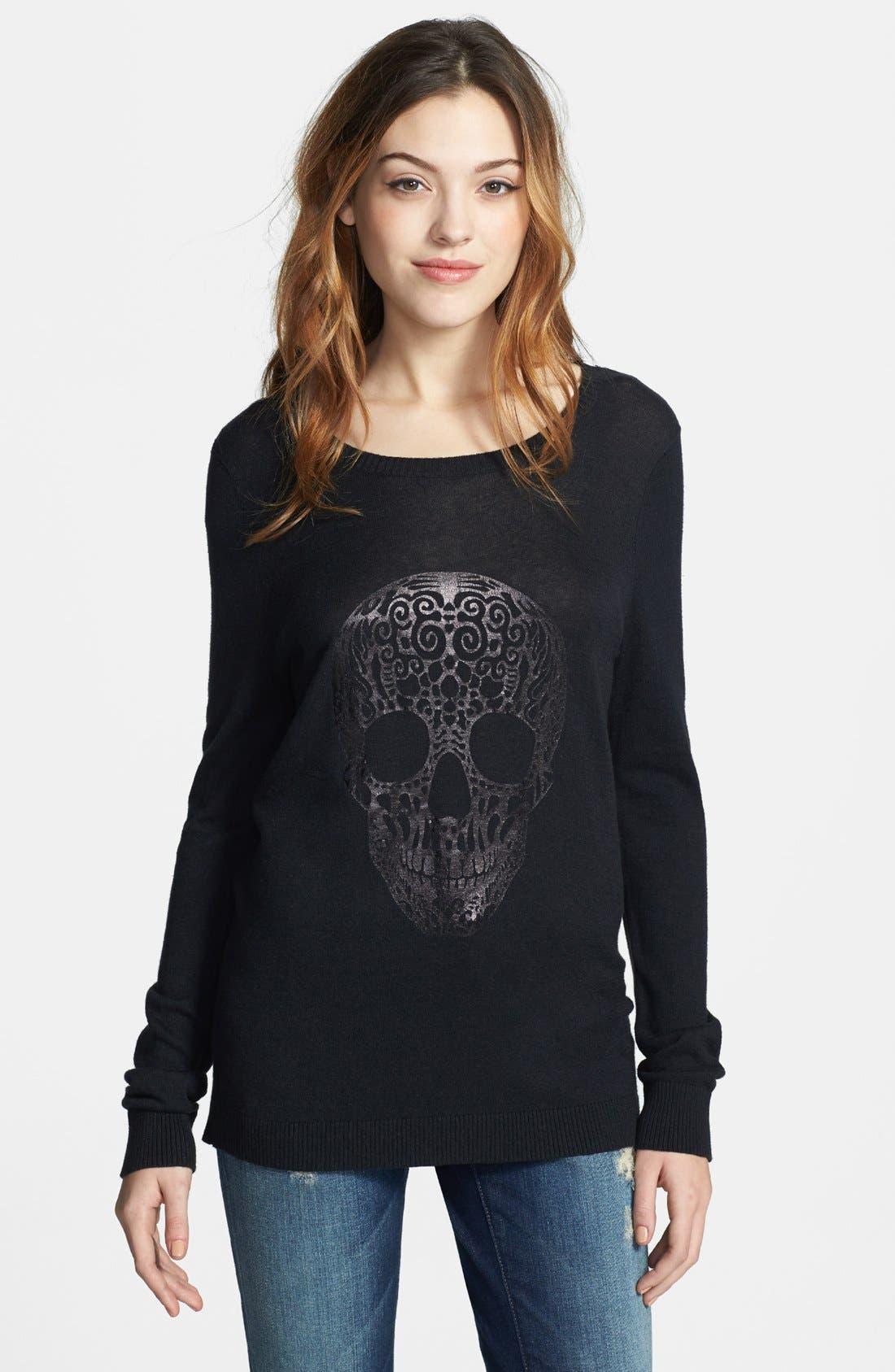 Alternate Image 1 Selected - kensie 'Skull' Fine Gauge Sweater