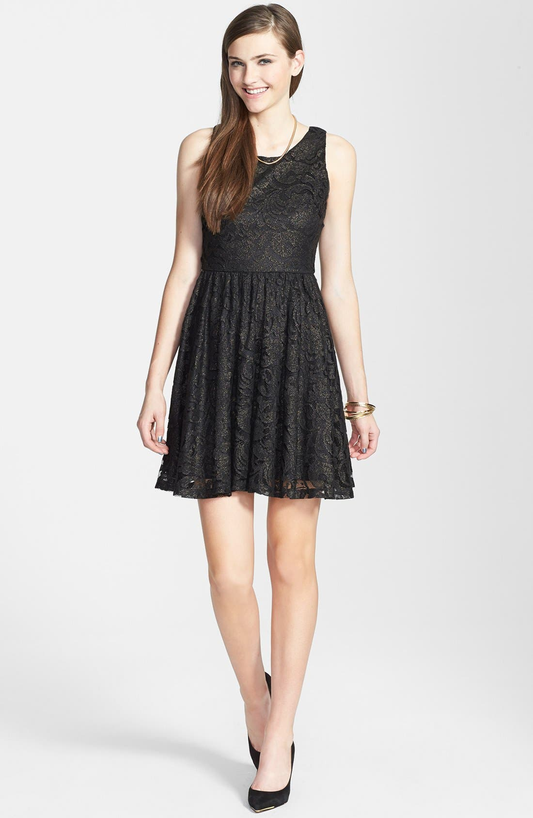 Alternate Image 3  - Soprano Lace Skater Dress (Juniors)