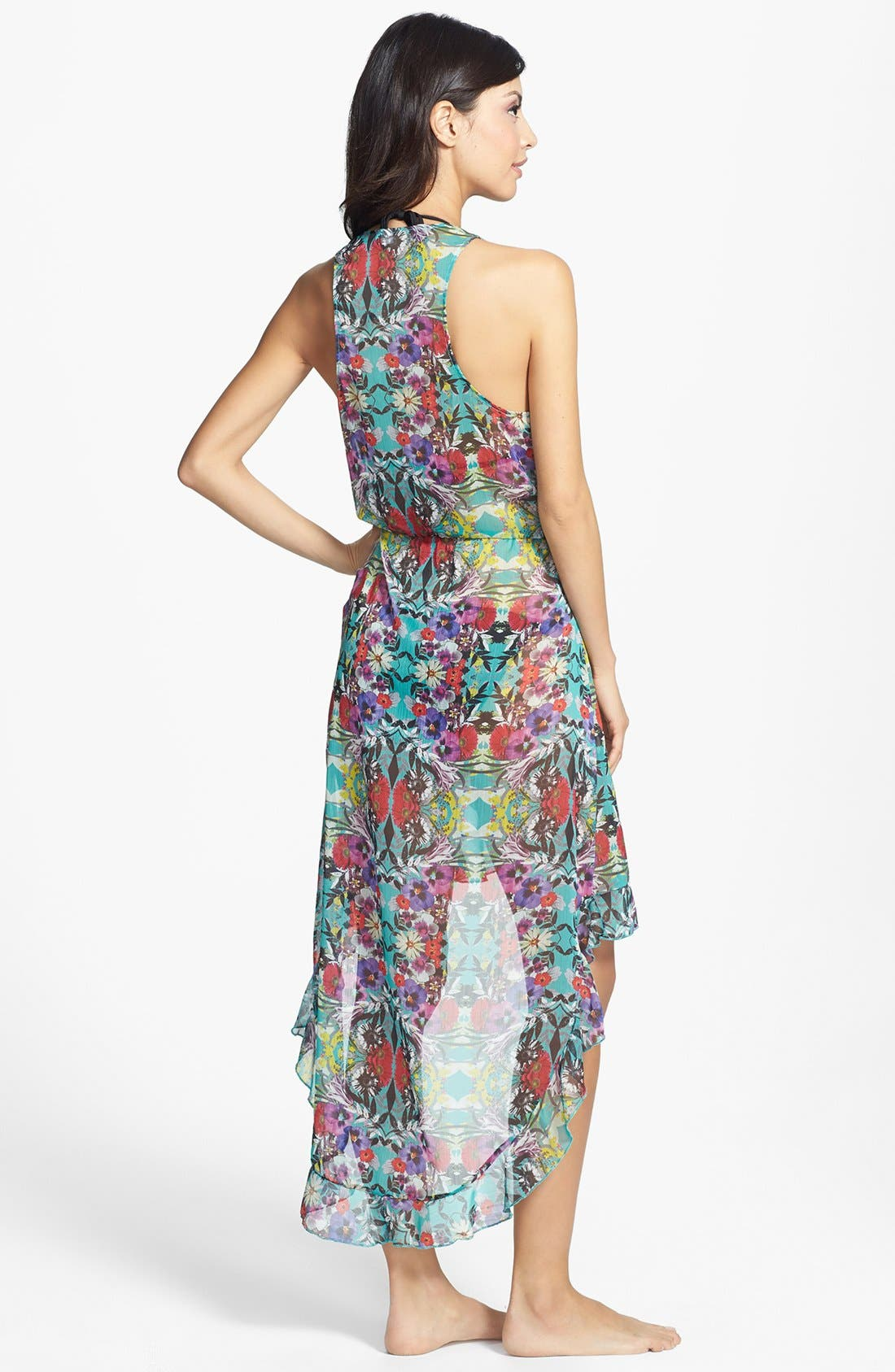 Alternate Image 2  - Red Carter 'Floriculture' Ruffle Cover-Up Wrap Dress