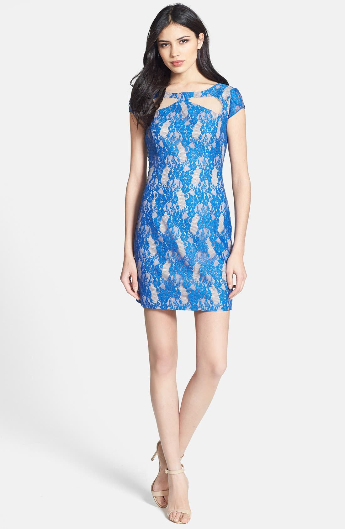 Alternate Image 2  - Hailey by Adrianna Papell Cutout Lace Sheath Dress