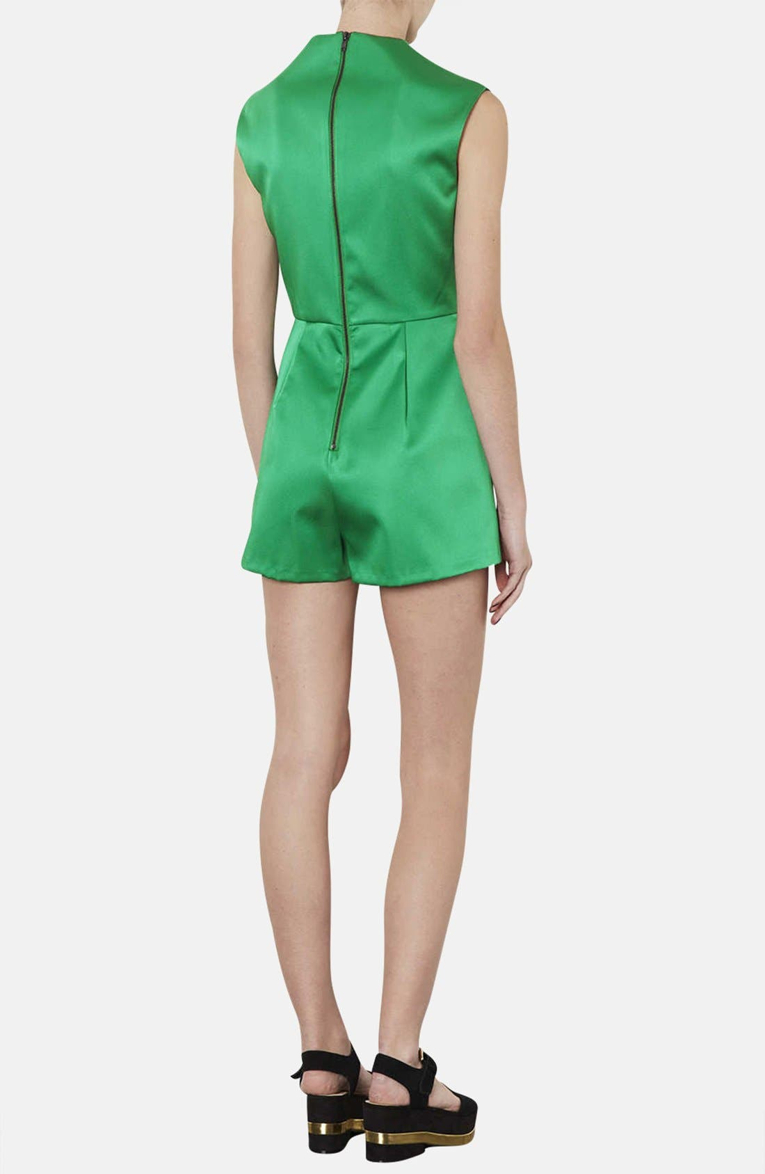 Alternate Image 2  - Topshop High Neck Satin Romper