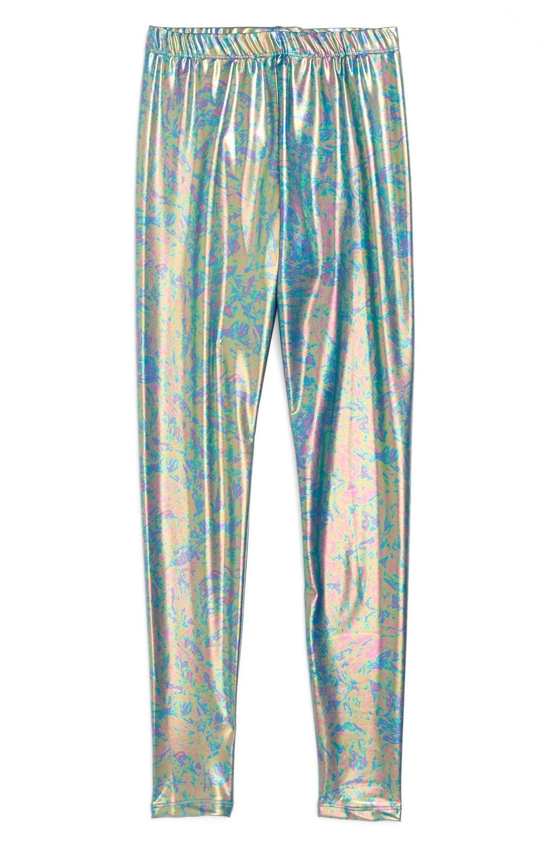 Alternate Image 1 Selected - Terez Metallic Print Leggings (Big Girls)