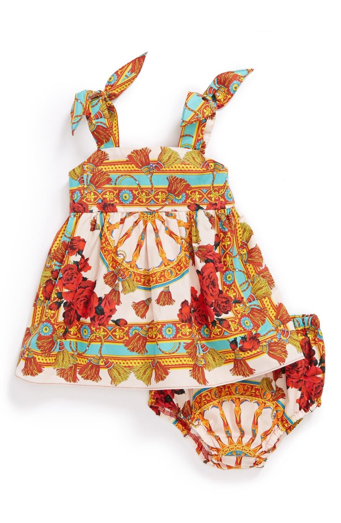 Main Image - Dolce&Gabbana Cotton Print Dress & Bloomers (Baby Girls)